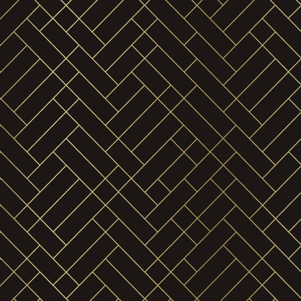 Tapet Cafe Tile brown / gold