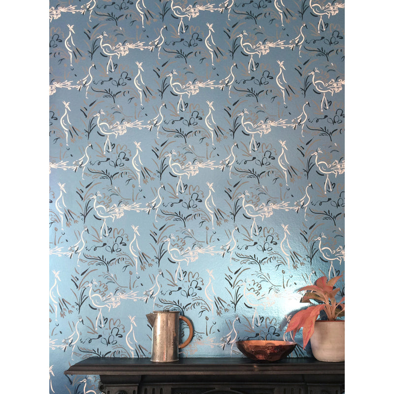 Birds metallic blue