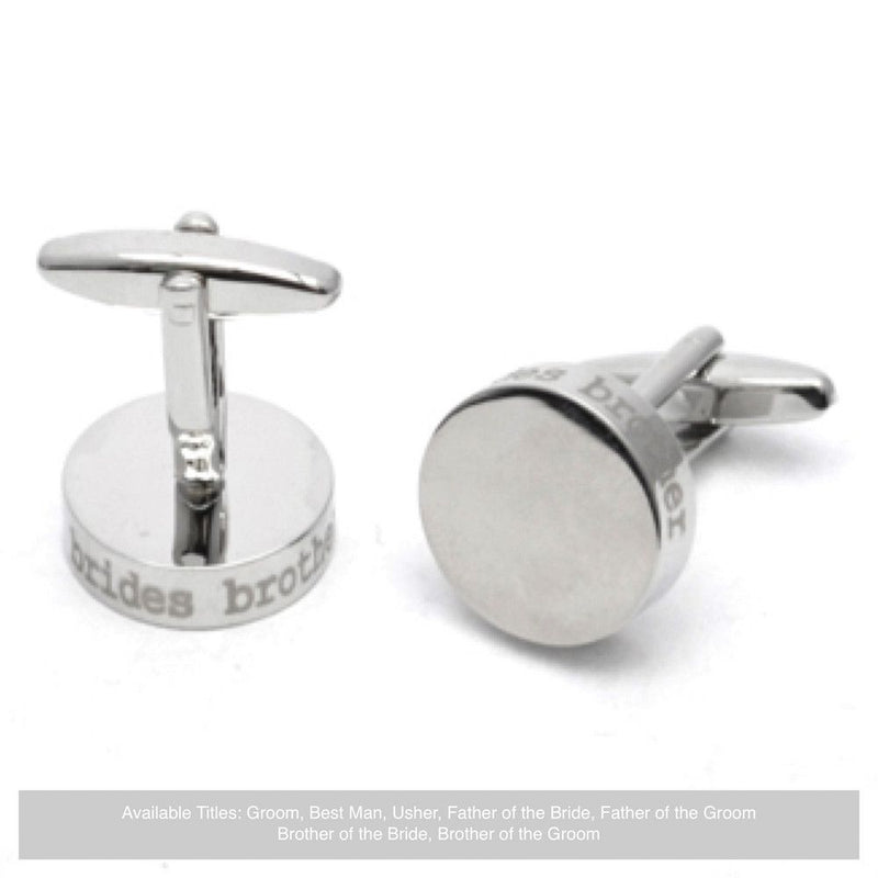 Silver Disc Wedding Cufflinks - Brother Of The Bride-Wedding Cufflinks-Bride Boutique