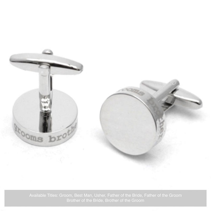 Silver Disc Wedding Cufflinks - Brother Of The Groom-Wedding Cufflinks-Bride Boutique
