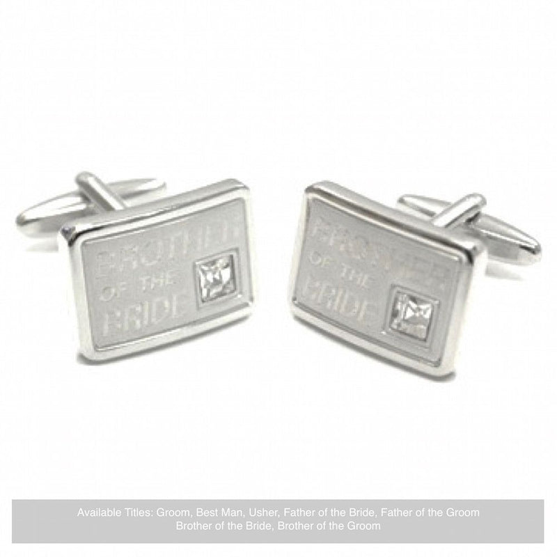 Silver Diamante Wedding Cufflinks - Brother Of The Bride-Wedding Cufflinks-Bride Boutique