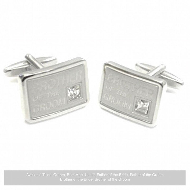 Silver Diamante Wedding Cufflinks - Brother Of The Groom-Wedding Cufflinks-Bride Boutique