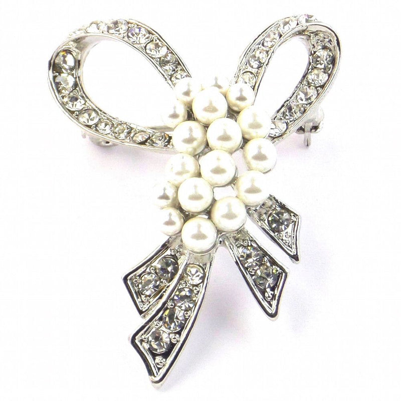 Pearl & Crystal Bow Brooch-Brooches-Bride Boutique