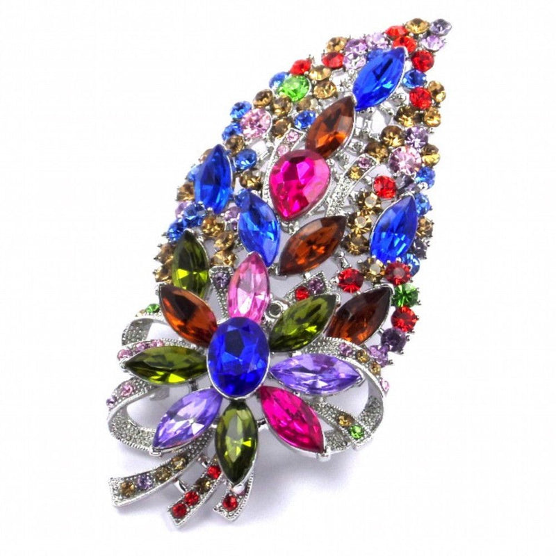 Crystal Bouquet Brooch - Multi Coloured-Brooches Bride Boutique