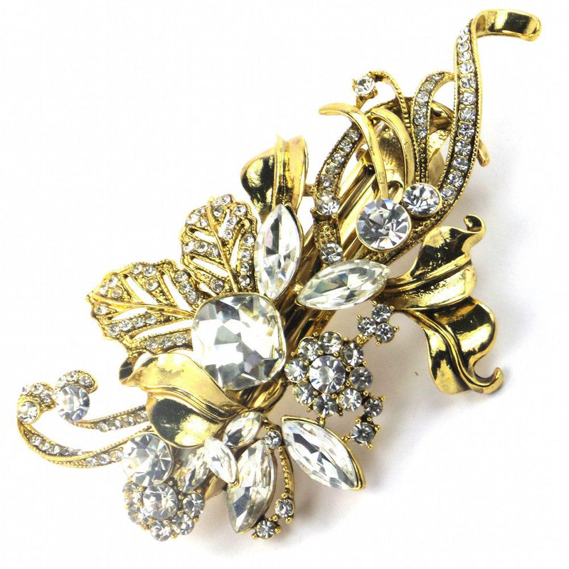 Elegance Gold Leaf Hair Clip-Hair Accessories-Bride Boutique