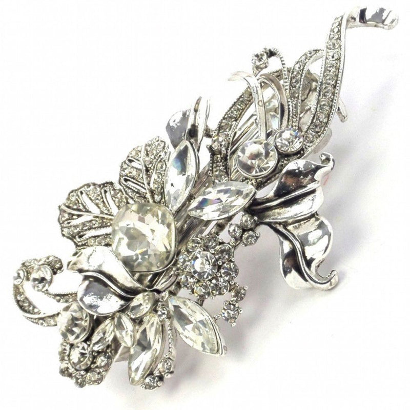 Elegance Silver Leaf Hair Clip-Hair Accessories-Bride Boutique