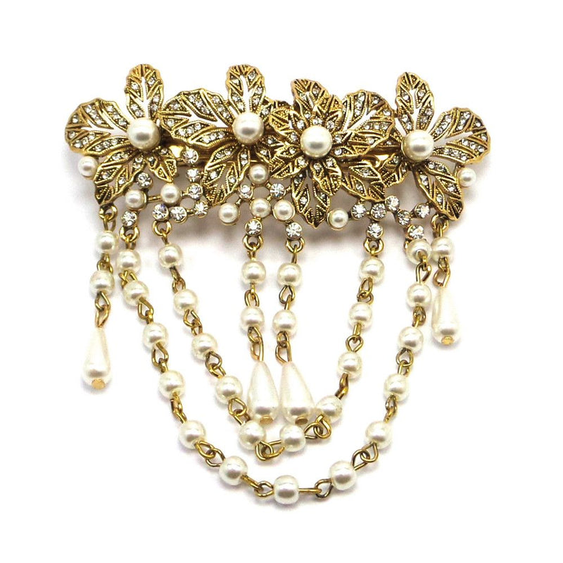 Vintage Pearl Drops Hair Clip - Gold-Hair Accessories-Bride Boutique