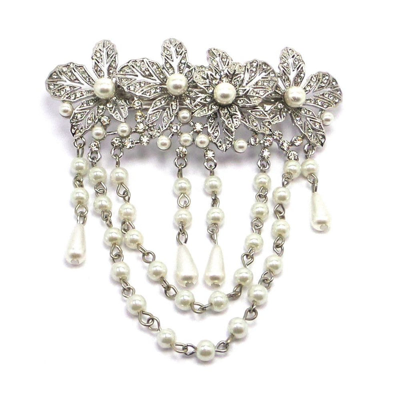 Vintage Pearl Drops Hair Clip - Silver-Hair Accessories-Bride Boutique