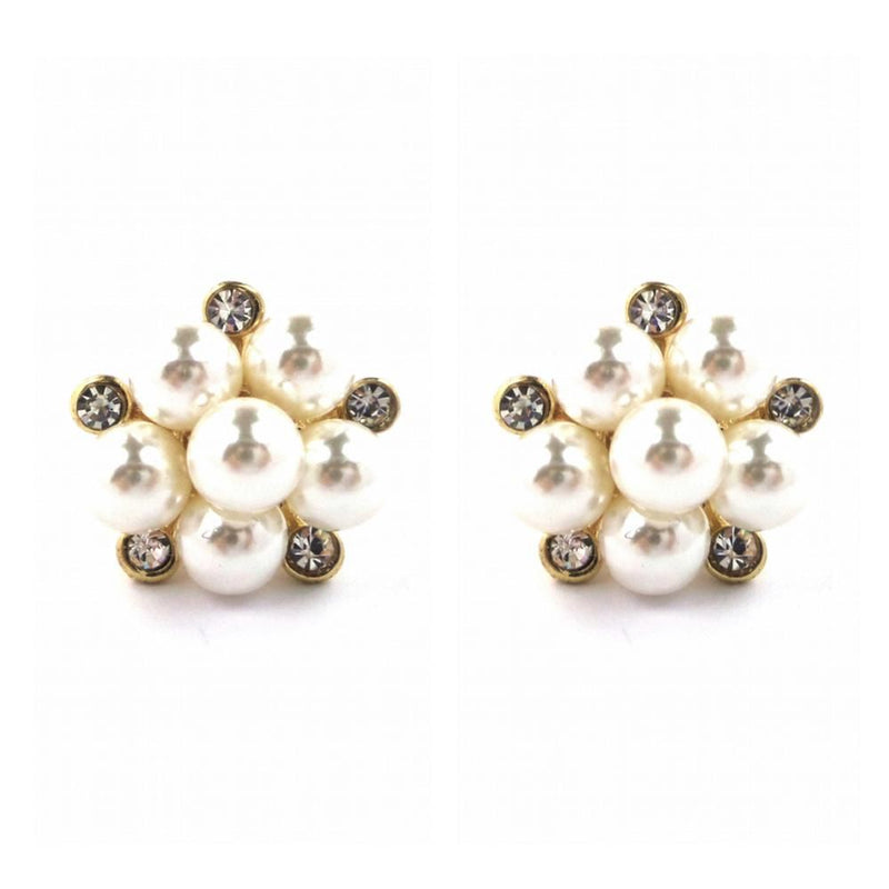 Pearl Cluster Stud Earrings - Gold-Earrings-Bride Boutique