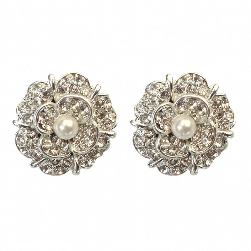 Vintage Flower Stud Earrings-Earrings Bride Boutique