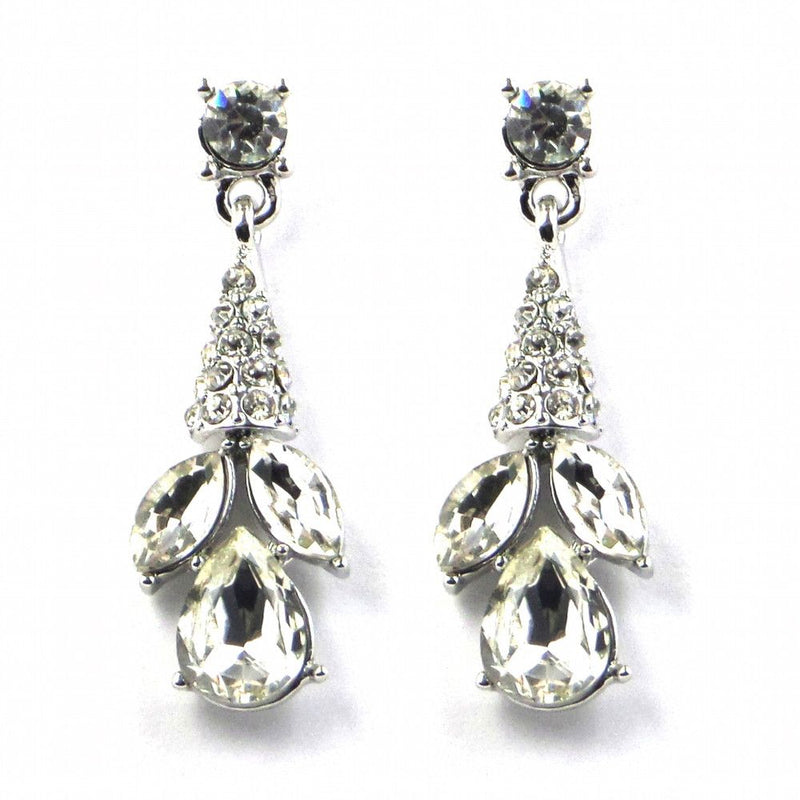 Crystal Droplets Dangly Earrings - Silver-Earrings Bride Boutique