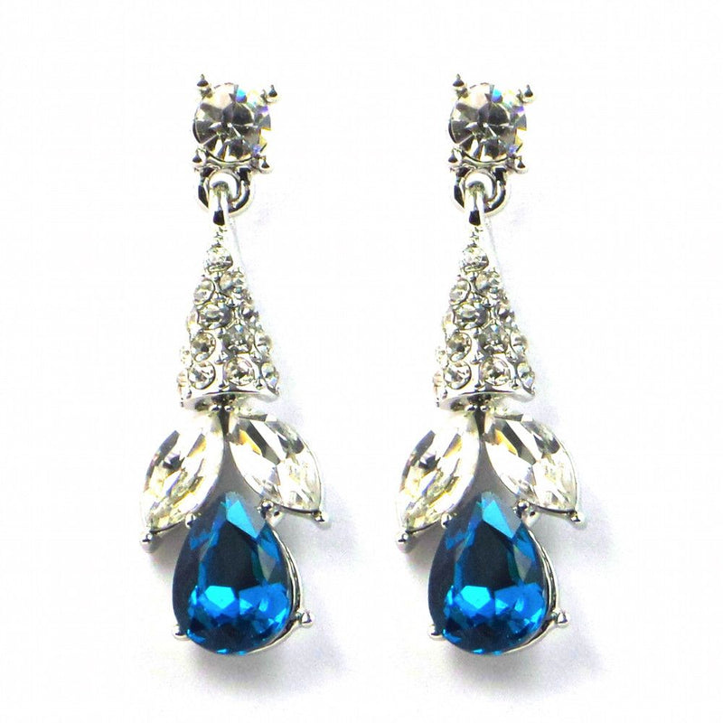 Crystal Droplets Dangly Earrings - Teal-Earrings Bride Boutique