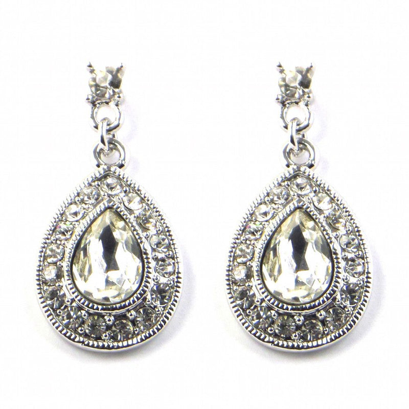 Vintage Sparklers Silver Wedding Earrings-Earrings Bride Boutique