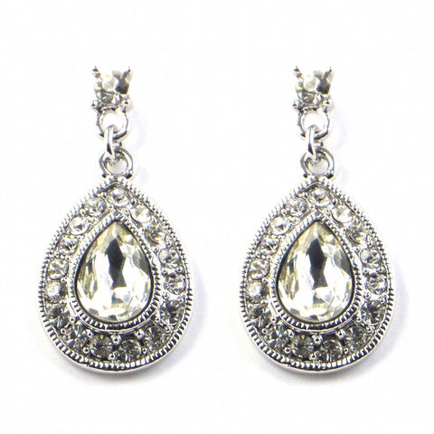 Diamante Angel Wing Earrings - Silver