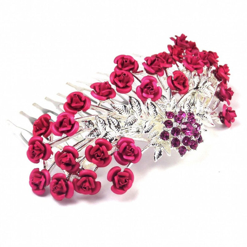 Rose Garden Hair Comb - Fuchsia Pink-Hair Accessories-Bride Boutique
