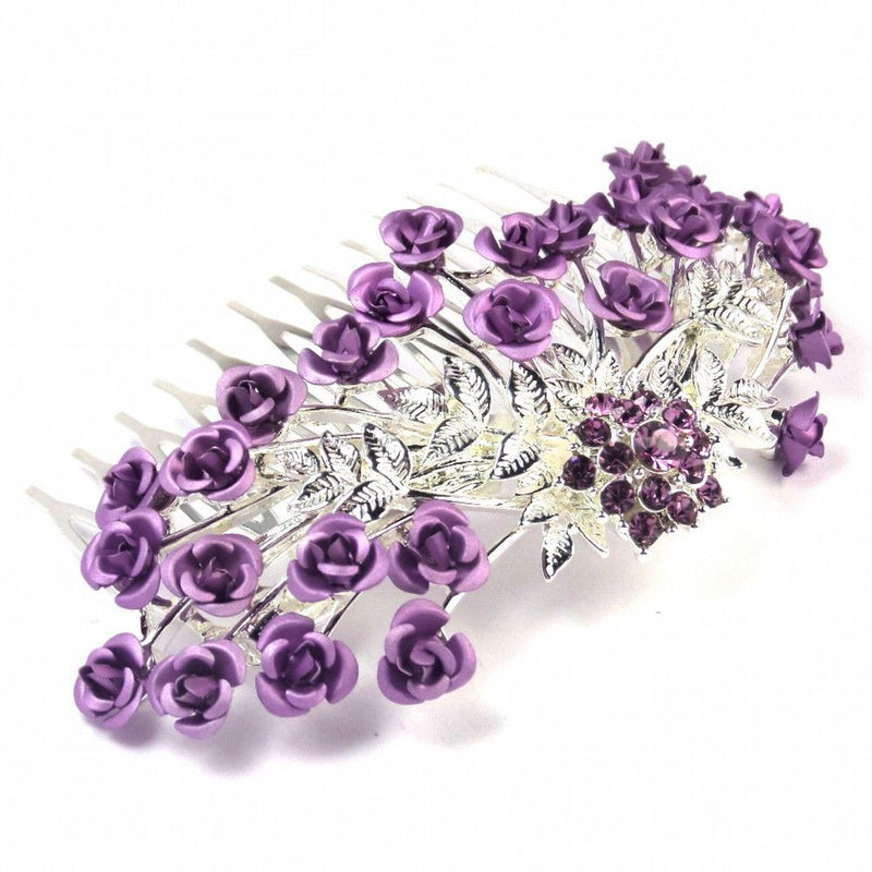 Rose Garden Hair Comb - Lilac-Hair Accessories-Bride Boutique