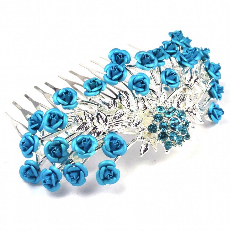 Rose Garden Hair Comb - Turquoise-Hair Accessories-Bride Boutique