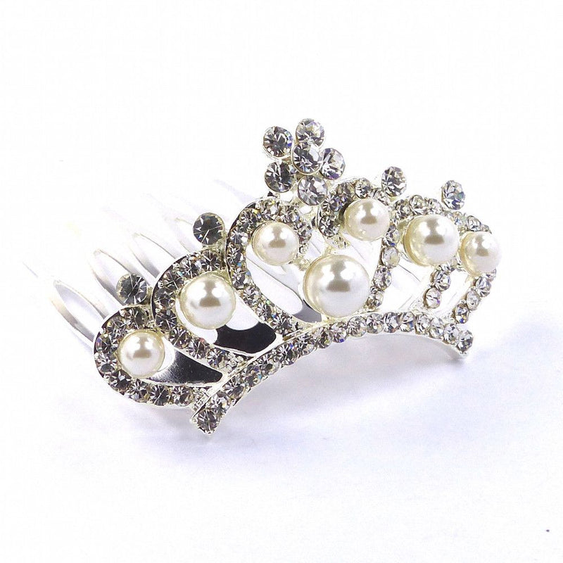 Mini Crystal & Pearl Comb Tiara-Hair Accessories-Bride Boutique