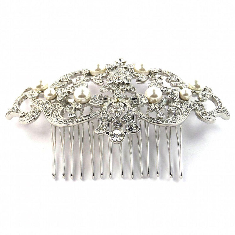 Antique Heirloom Silver Wedding Hair Comb-Hair Accessories-Bride Boutique