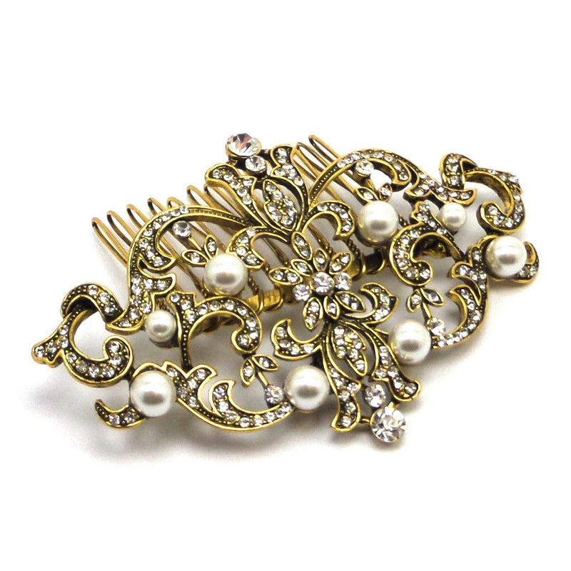 Antique Heirloom Gold Wedding Hair Comb - Bride Boutique - 1