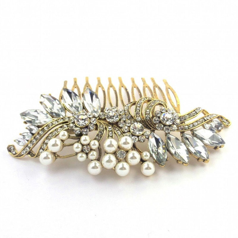 Crystal Decadence Bridal Hair Comb - Gold-Hair Accessories-Bride Boutique