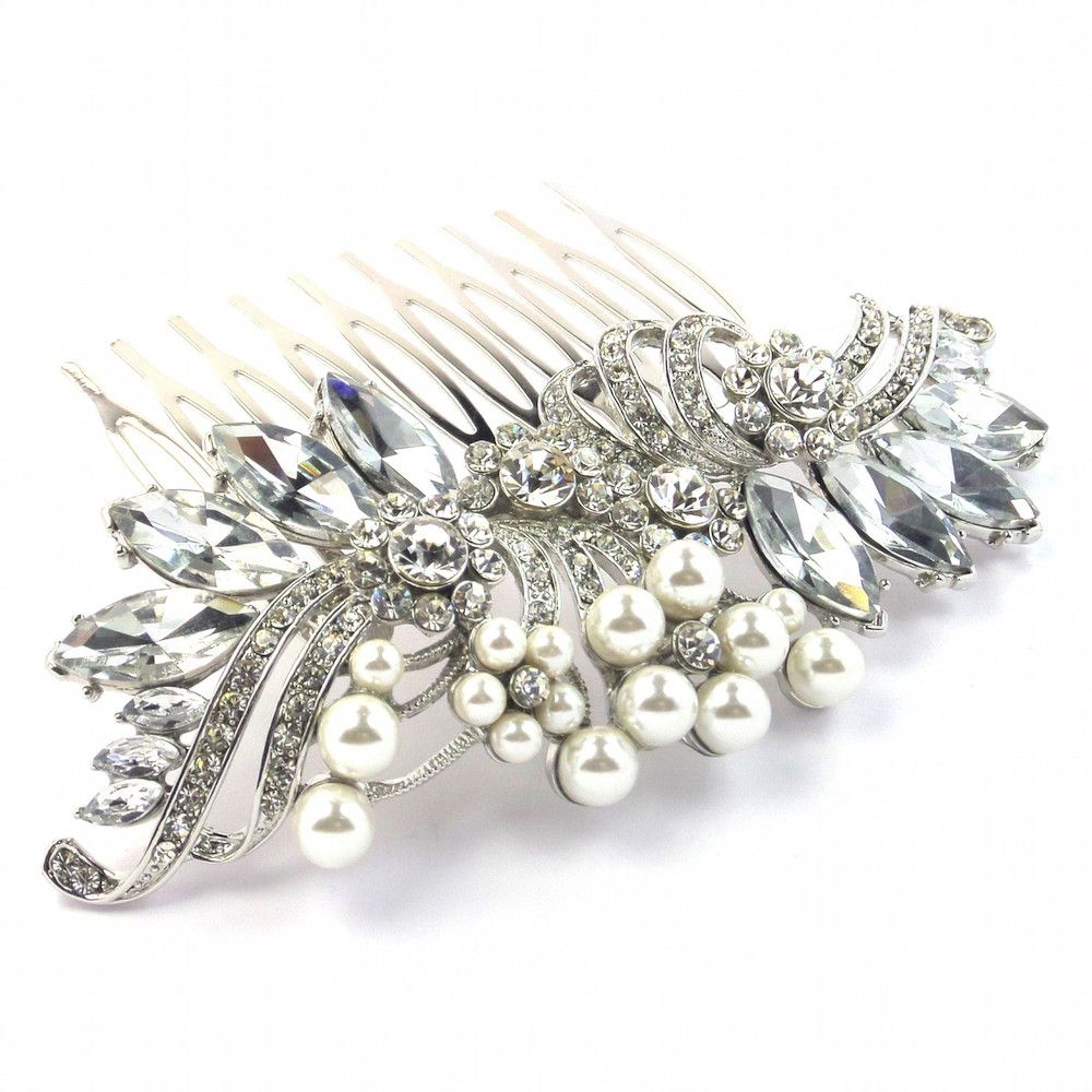 Crystal Decadence Bridal Hair Comb - Silver-Hair Accessories-Bride Boutique
