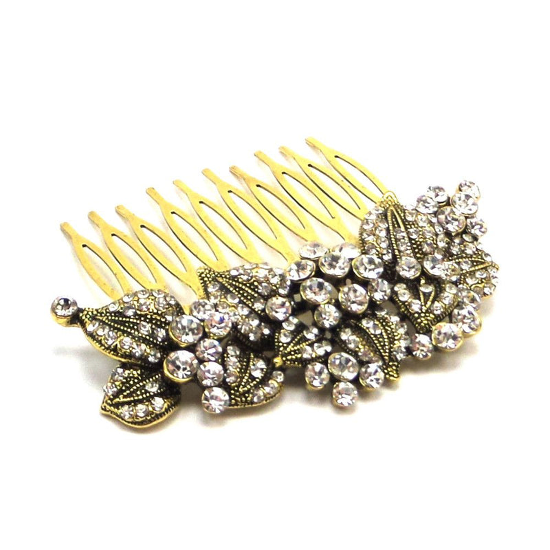 Leaves Of Romance Wedding Hair Comb - Gold-Hair Accessories-Bride Boutique