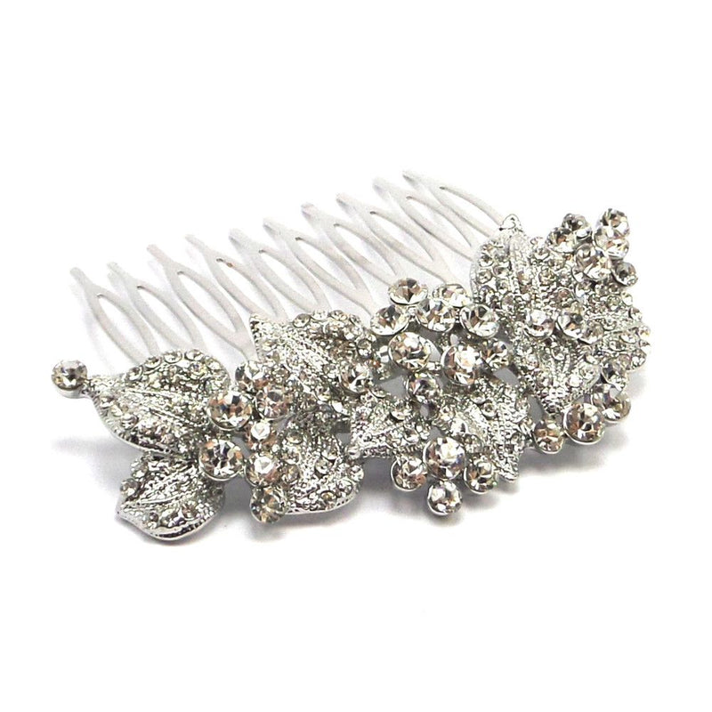 Leaves Of Romance Wedding Hair Comb - Silver-Hair Accessories-Bride Boutique