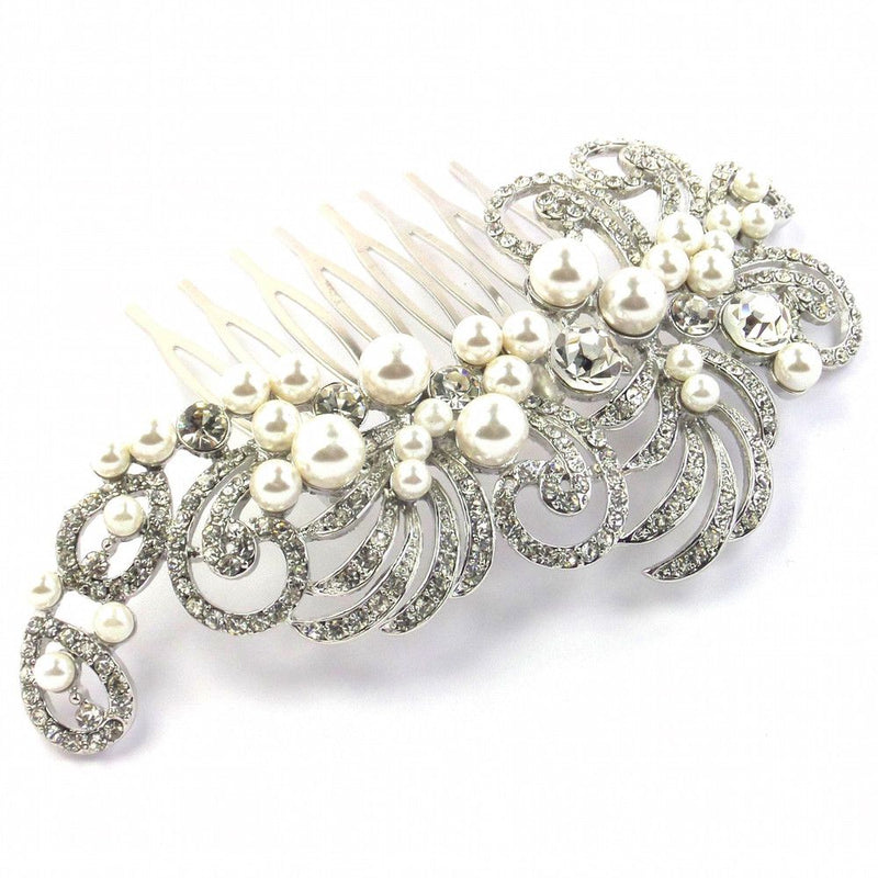 Vintage Charm Bridal Hair Comb - Silver-Hair Accessories-Bride Boutique