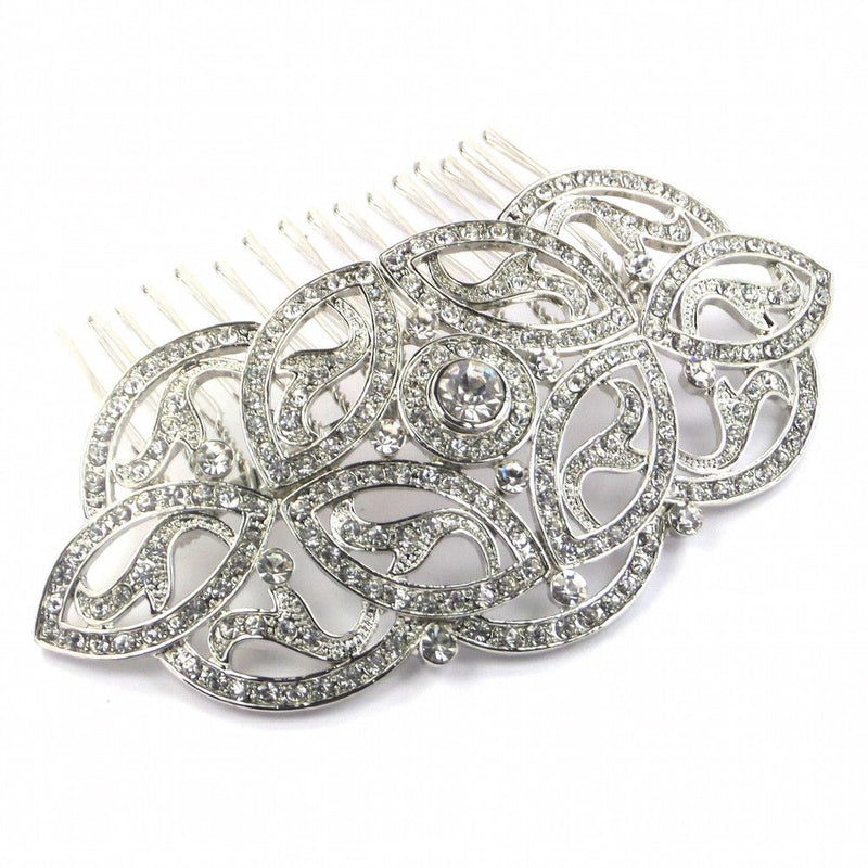 Celtic Charm Hair Comb - Silver-Hair Accessories-Bride Boutique