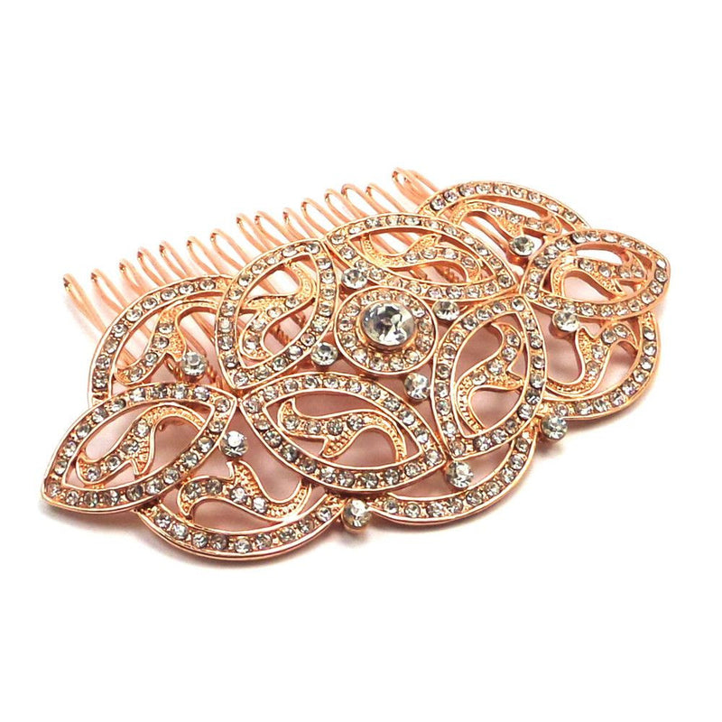 Celtic Charm Hair Comb - Rose Gold-Hair Accessories-Bride Boutique