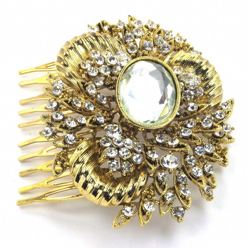 Grecian Glamour Vintage Hair Comb - Gold-Hair Accessories-Bride Boutique