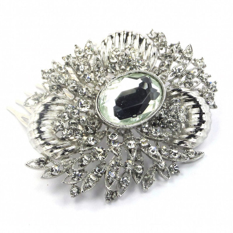 Grecian Glamour Vintage Hair Comb - Silver-Hair Accessories Bride Boutique