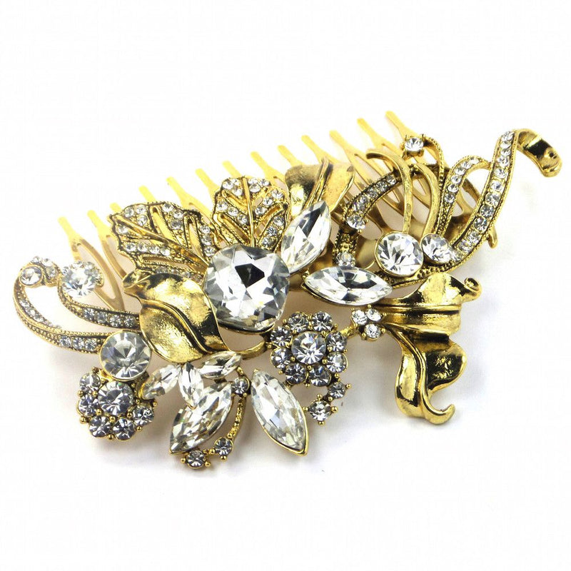 Elegance Gold Leaf Hair Comb-Hair Accessories-Bride Boutique