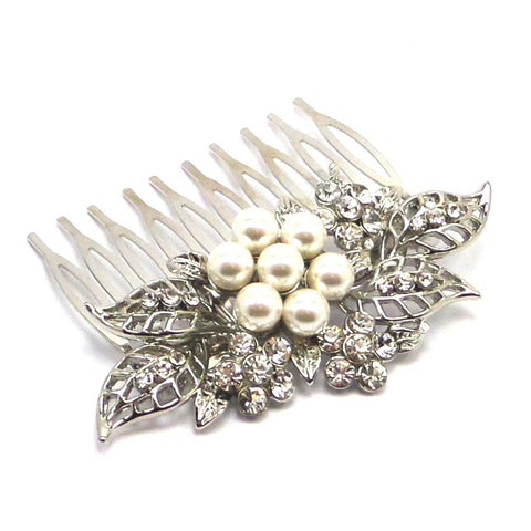 Crystal Decadence Bridal Hair Comb - Silver