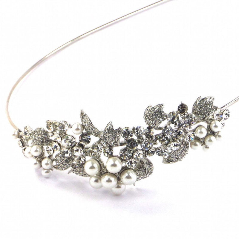 Crystal Grace Side Accent Headband - Silver-Hair Accessories-Bride Boutique