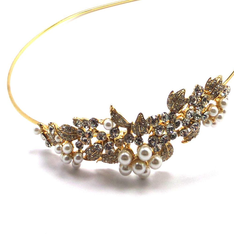 Crystal Grace Side Accent Headband - Gold-Hair Accessories Bride Boutique