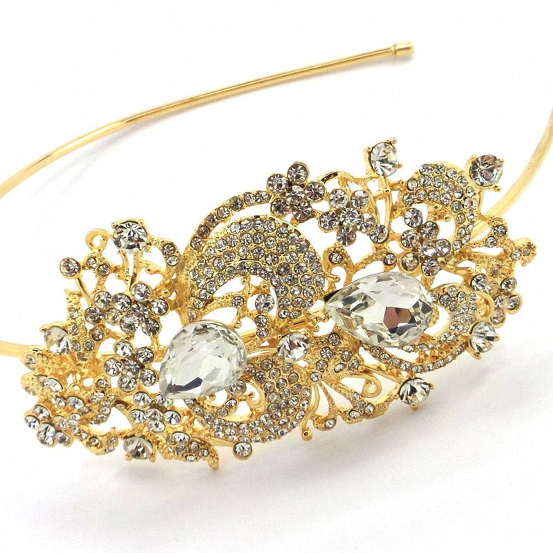 Vintage Charm Wedding Headband - Gold-Hair Accessories Bride Boutique