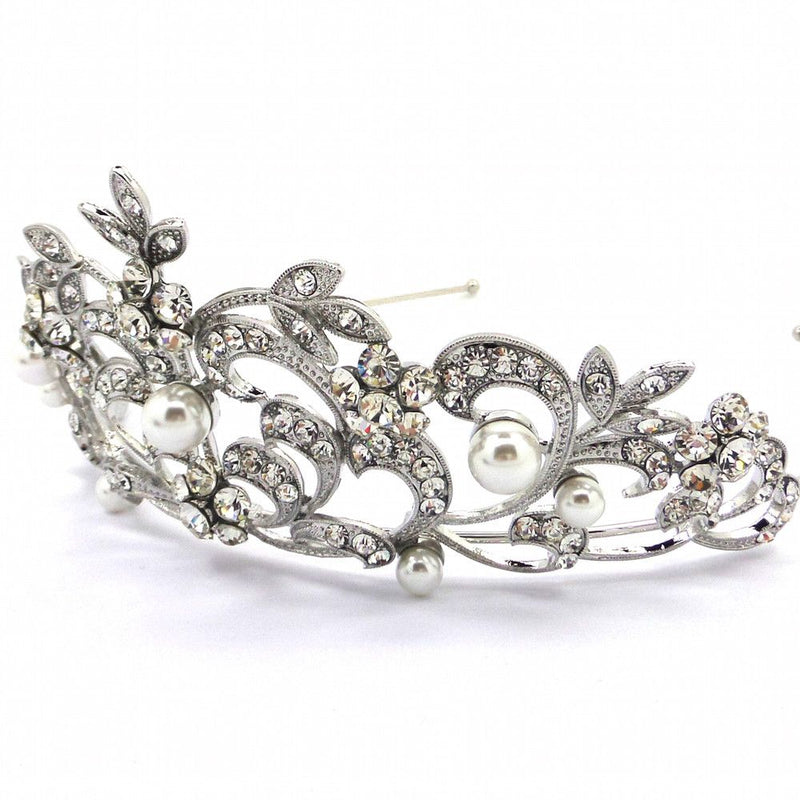 Princess Crown Crystal & Pearl Tiara-Hair Accessories Bride Boutique