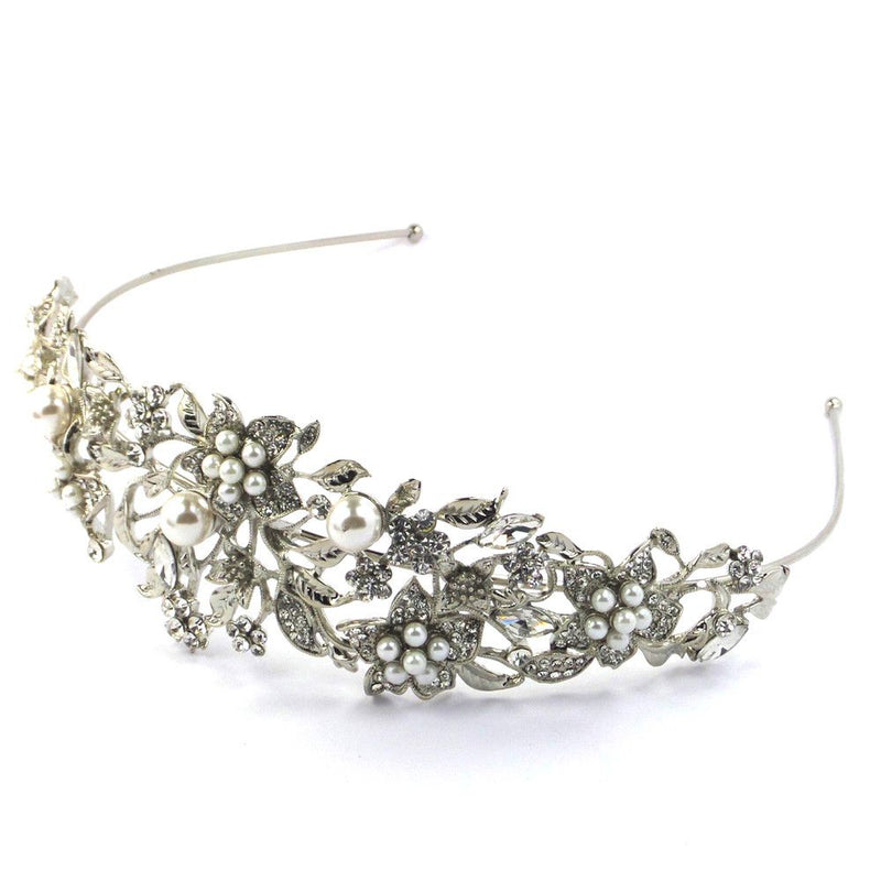 Floral Decadence Tiara Headband-Hair Accessories Bride Boutique