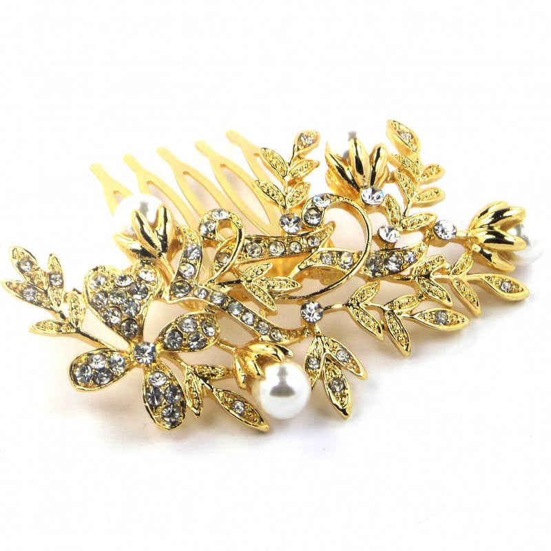 Pearl Blooms Diamante Hair Comb - Gold-Hair Accessories-Bride Boutique
