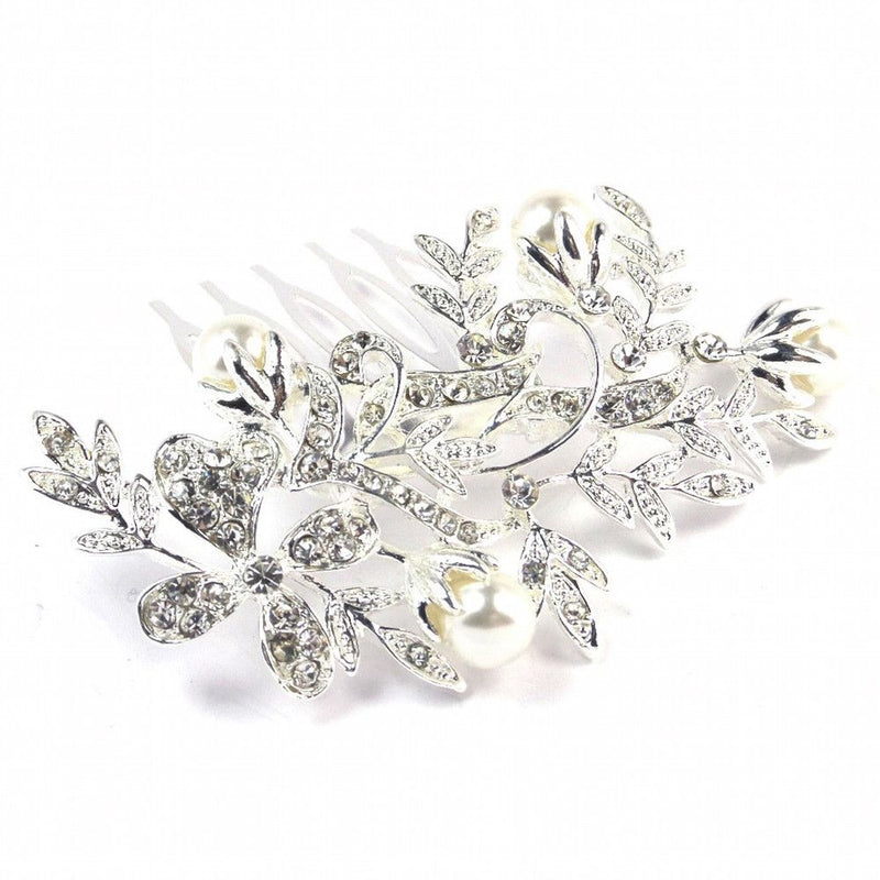 Pearl Blooms Diamante Hair Comb - Silver-Hair Accessories-Bride Boutique