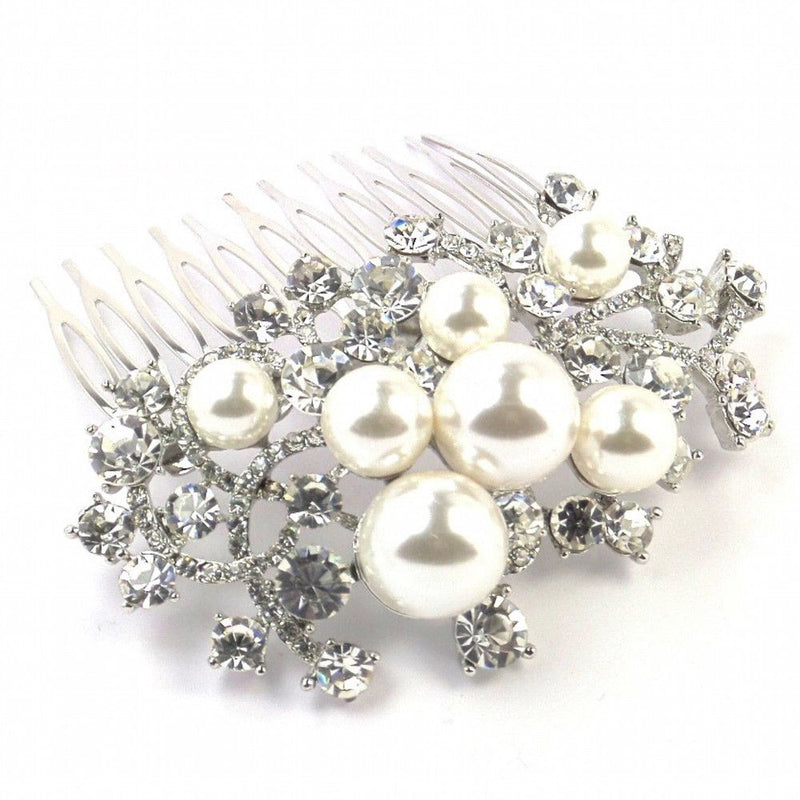 Pearl & Crystal Cluster Hair Comb-Hair Accessories-Bride Boutique