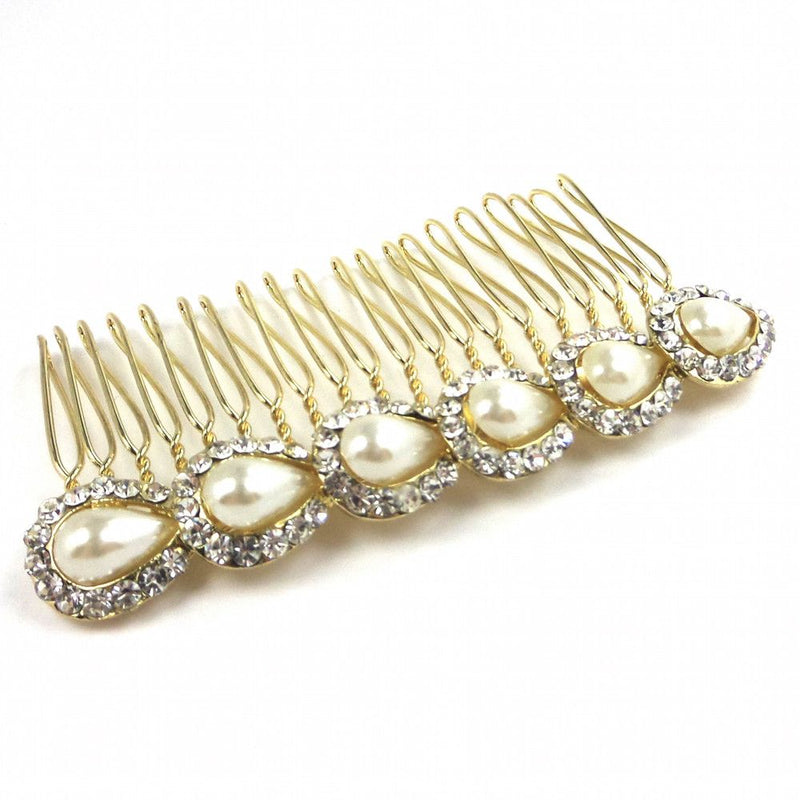 Pearl Teardrops Hair Comb - Gold-Hair Accessories Bride Boutique