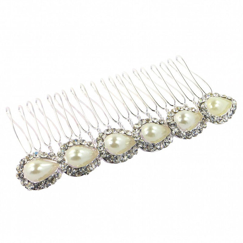 Pearl Teardrops Hair Comb - Silver-Hair Accessories-Bride Boutique