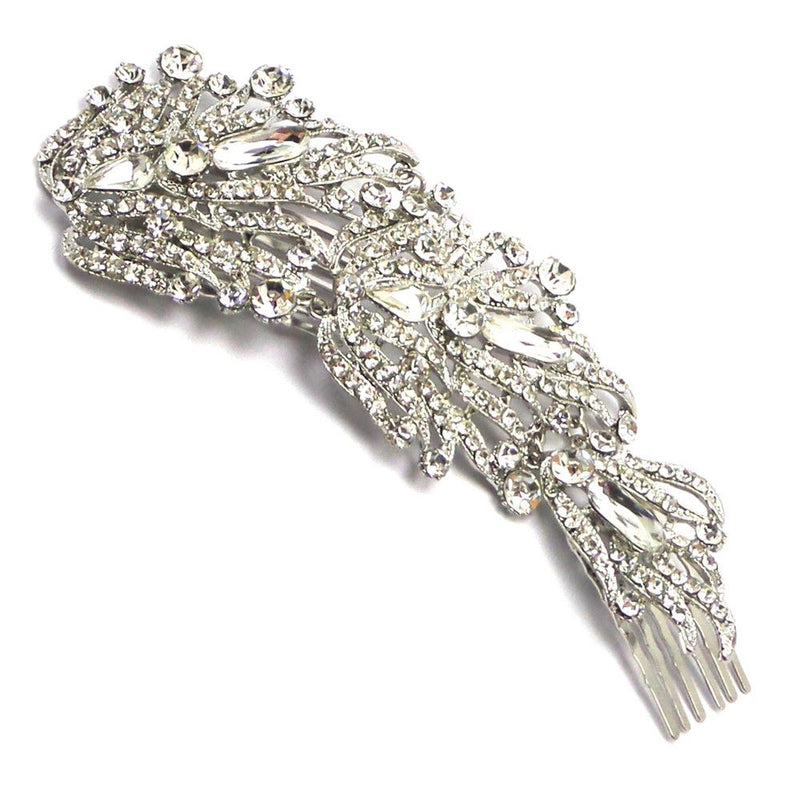Angelic Cascade Bridal Hair Vine - Silver-Hair Accessories Bride Boutique