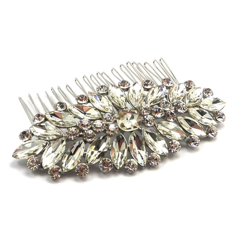 Divine Deco Silver Hair Comb-Hair Accessories-Bride Boutique