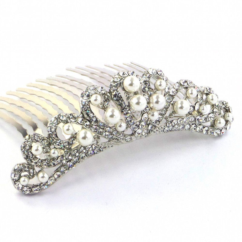 Vintage Heart Small Comb Tiara-Hair Accessories Bride Boutique