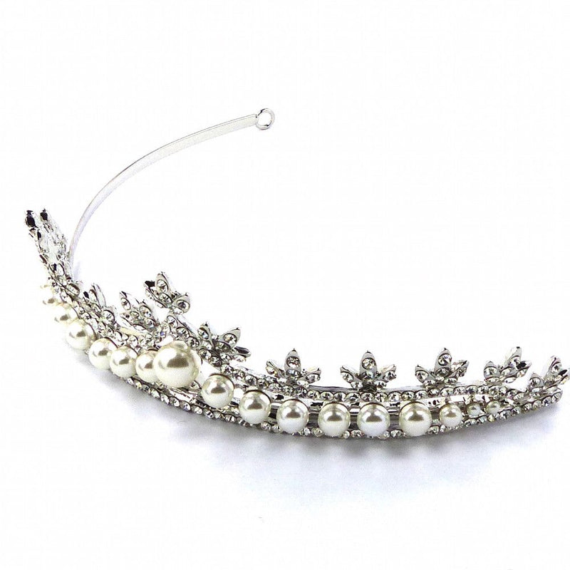 Pearl Elegance Bridal Tiara-Hair Accessories Bride Boutique
