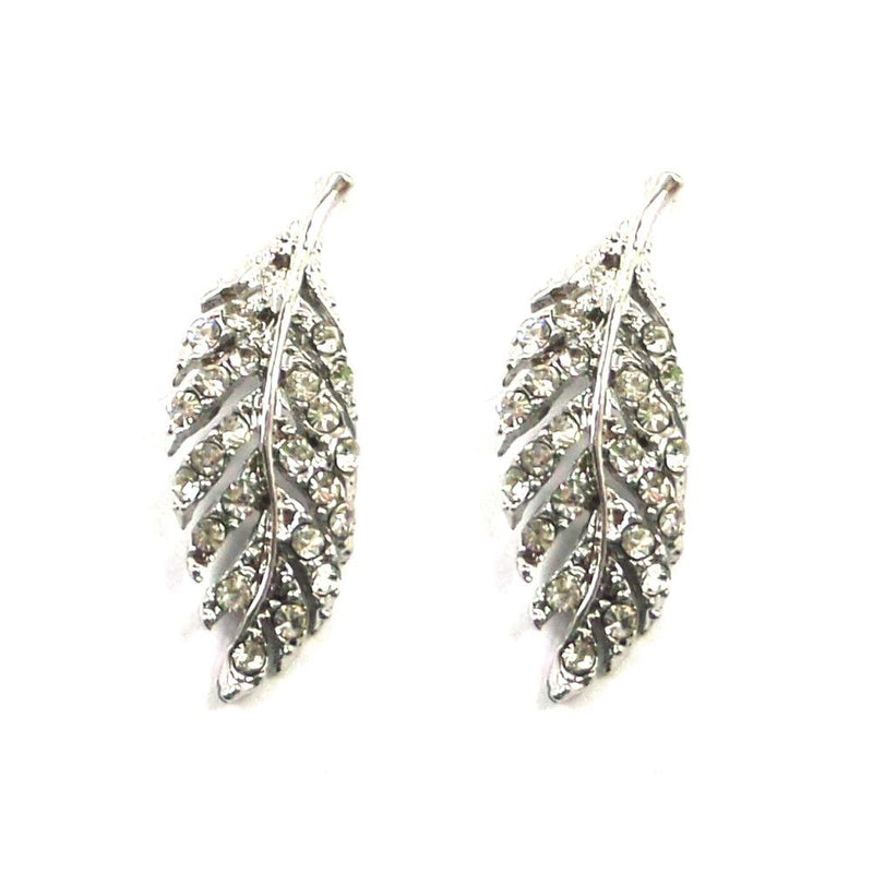 Crystal Silver Leaf Studs-Earrings-Bride Boutique